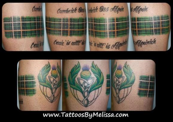 Scottish celtic Tartan/ Plaid leg tattooArtist: Melissa Capowww ...